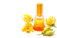 Ylang-Ylang essential oil with flowers Stock Photo