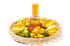 Ylang-Ylang essential oil with flowers Royalty Free Stock Photography