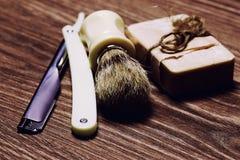 Żyletki ostrza mydła muśnięcie retro Zdjęcia Royalty Free