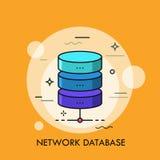 Ylinder划分了成三五颜六色的水平的部分 网络数据库,目录的结构元素的概念 向量例证