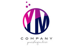 YM Y M Circle Letter Logo Design avec Dots Bubbles pourpre Photographie stock libre de droits