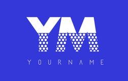YM Y M Dotted Letter Logo Design con el fondo azul Fotos de archivo