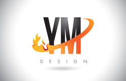 YM Y M Letter Logo with Fire Flames Design and Orange Swoosh. Stock Photography
