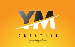 YM Y M Letter Modern Logo Design avec le fond jaune et le Swoo illustration stock
