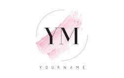 YM Y M Watercolor Letter Logo Design con el modelo circular del cepillo Fotografía de archivo