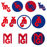 YMG letters logo. Set of 11 YMG abstract logos isolated on white background. EPS file available royalty free illustration