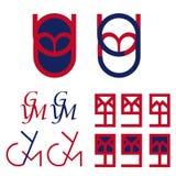 Ymg segna il logo con lettere Immagini Stock