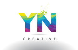 YN Y N Colorful Letter Origami Triangles Design Vector. Stock Photo