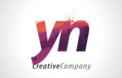 YN Y N Letter Logo Design with Purple Forest Texture Flat Vector Stock Images