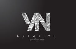 YN Y N Letter Logo with Zebra Lines Texture Design Vector. Stock Image