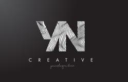 YN Y N listu logo z zebr linii tekstury projekta wektorem Obraz Stock