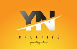 YN Y N loga Listowy Nowożytny projekt z Żółtym tłem i Swoo Fotografia Royalty Free