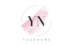 YN Y N Watercolor Letter Logo Design with Circular Brush Pattern Stock Photography
