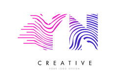 YN Y N Zebra Lines Letter Logo Design with Magenta Colors Royalty Free Stock Image