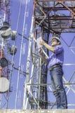 Inżynier komunikacj czeka antena Obraz Royalty Free