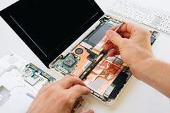 Inżynier naprawia laptop i motherboa komputer osobisty, komputer (,) Obrazy Royalty Free