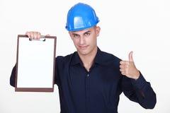 Inżynier z schowkiem Zdjęcia Stock