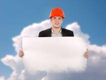Inżyniera mienia projekta Pusty papier na chmurach Fotografia Stock