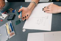 Inżyniera rysunku plan elektroniczna budowa Zdjęcia Stock