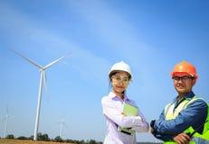 Inżyniery i silniki wiatrowi Fotografia Stock