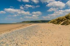 Ynyslas strand, Wales, UK Arkivbilder
