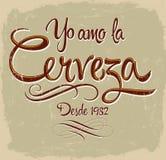 Yo Amo la Cerveza - I-de Spaanse tekst van het liefdebier Stock Afbeeldingen