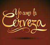 Yo amo lacerveza - jag älskar ölspanjortext Arkivbild