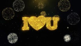 Yo amor del corazón usted partículas escritas del oro que estallan la exhibición de los fuegos artificiales ilustración del vector
