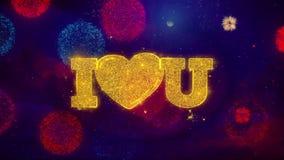 Yo amor del corazón usted que saluda partículas de la chispa del texto en los fuegos artificiales coloreados libre illustration