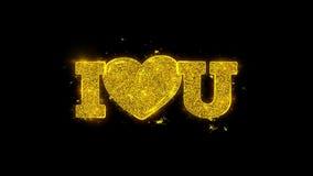 Yo amor del corazón usted tipografía escrita con los fuegos artificiales de oro de las chispas de las partículas libre illustration
