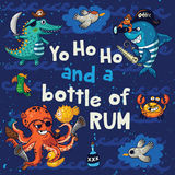 Yo ho ho. Pirate illustration with crocodile, octopus, shark Stock Image