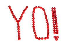 YO mit Ausrufsmarkierung stockbild