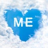 Yo palabra en el cielo azul Fotos de archivo