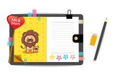 Yo y león de lunes con el cuaderno del amarillo del amor Imagen de archivo