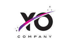YO Y O Black Letter Logo Design with Purple Magenta Swoosh Royalty Free Stock Image