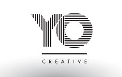 YO Y O Black and White Lines Letter Logo Design. Royalty Free Stock Images