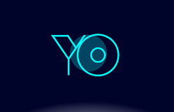 Yo y o blue line circle alphabet letter logo icon template vecto Royalty Free Stock Images