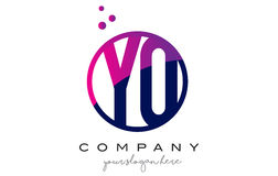 YO Y O Circle Letter Logo Design with Purple Dots Bubbles Royalty Free Stock Photo