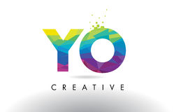 YO Y O Colorful Letter Origami Triangles Design Vector. Royalty Free Stock Image