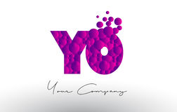 YO Y O Dots Letter Logo with Purple Bubbles Texture. Stock Image