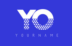 YO Y O Dotted Letter Logo Design with Blue Background. Stock Images