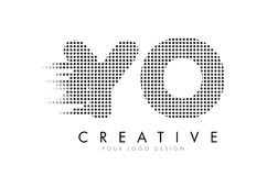YO Y O Letter Logo with Black Dots and Trails. Stock Image