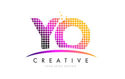 YO Y O Letter Logo Design with Magenta Dots and Swoosh Stock Image