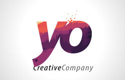 YO Y O Letter Logo Design with Purple Forest Texture Flat Vector Stock Photo