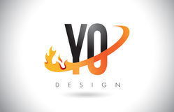 YO Y O Letter Logo with Fire Flames Design and Orange Swoosh. Stock Photos