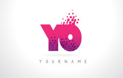 YO Y O Letter Logo with Pink Purple Color and Particles Dots Des Stock Photography