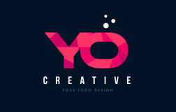 YO Y O Letter Logo with Purple Low Poly Pink Triangles Concept Stock Image