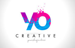 YO Y O Letter Logo with Shattered Broken Blue Pink Texture Desig Stock Photo