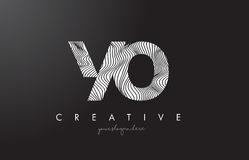 YO Y O Letter Logo with Zebra Lines Texture Design Vector. Stock Photography