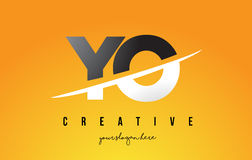 YO Y O Letter Modern Logo Design with Yellow Background and Swoo Royalty Free Stock Image